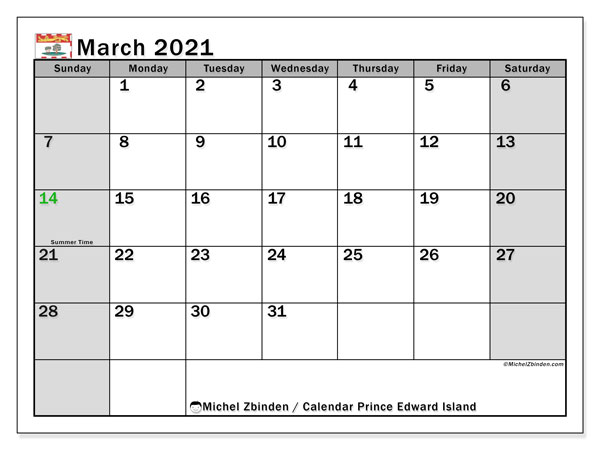 March 2021 Calendar, with the holidays of Prince Edward Island. Free printable calendar with public holidays.