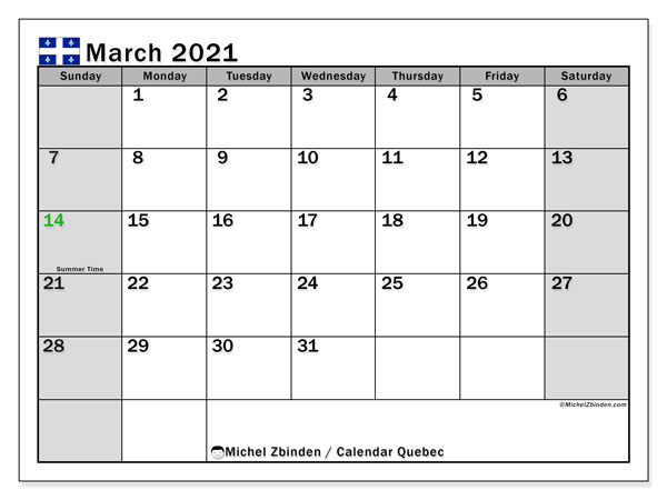 "Printable ""Quebec"" calendar with public holidays. Monthly March 2021 calendar and free printable bullet journal."