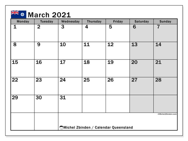 March 2021 Calendar, with the holidays of Queensland. Holidays calendar to print free.