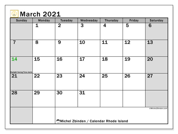 Calendar March 2021 - Rhode Island. Public Holidays. Monthly Calendar and bullet journal to print free.