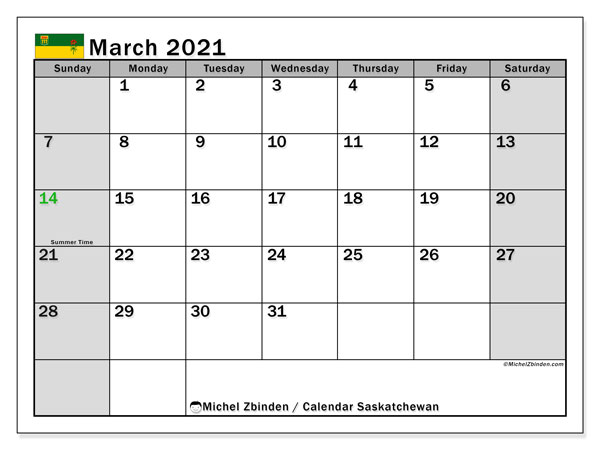 March 2021 Calendar, with the holidays of Saskatchewan. Free printable calendar with public holidays.