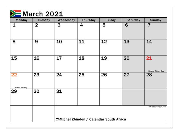 Calendar March 2021 - South Africa. Public Holidays. Monthly Calendar and free printable timetable.