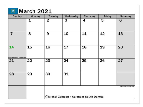 Calendar March 2021 - South Dakota. Public Holidays. Monthly Calendar and bullet journal to print free.