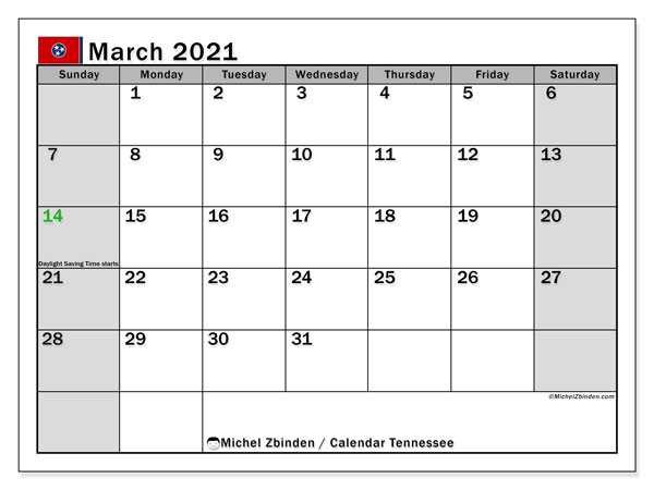 March 2021 Calendar, with the holidays of Tennessee. Holidays calendar to print free.