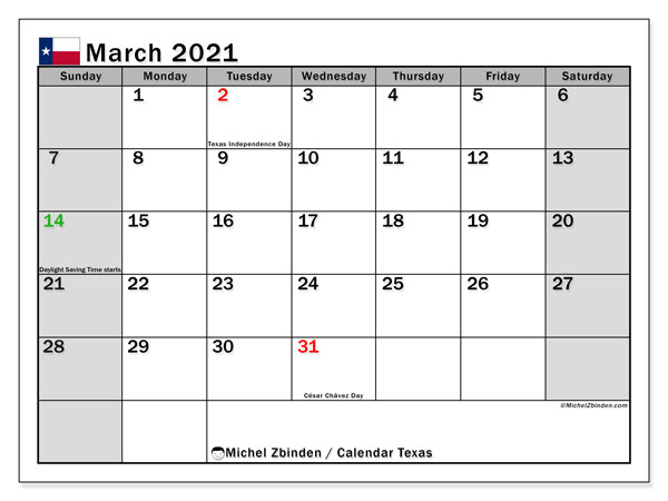 March 2021 Calendar, with the holidays of Texas. Holidays calendar to print free.