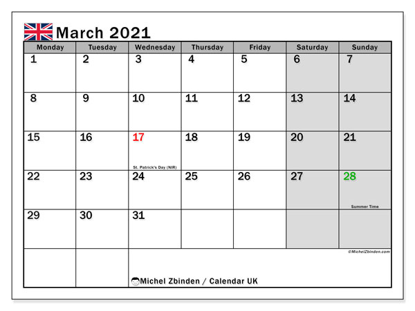 Calendar March 2021 - UK. Public Holidays. Monthly Calendar and free bullet journal to print.