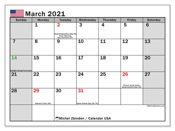 March 2021 Calendar, with the holidays of the USA. Holidays calendar to print free.