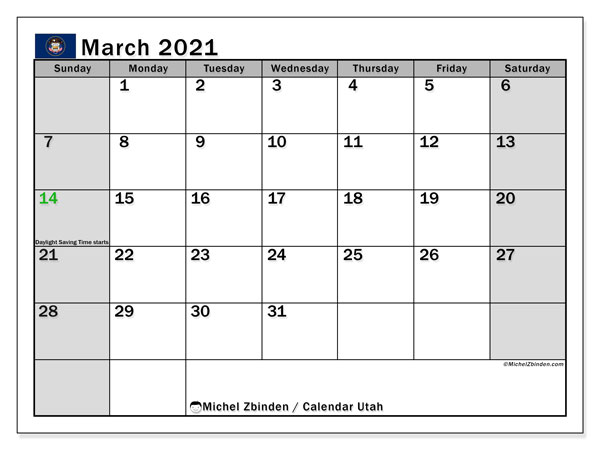 March 2021 Calendar, with the holidays of Utah. Holidays calendar to print free.