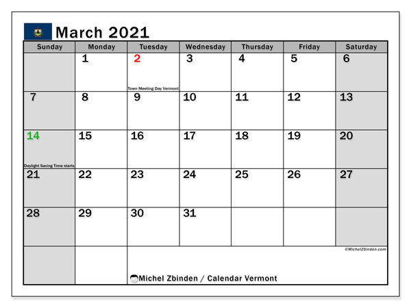 "Printable ""Vermont"" calendar with public holidays. Monthly March 2021 calendar and free printable timetable."