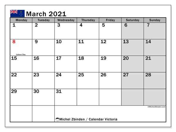 Calendar March 2021 - Victoria. Public Holidays. Monthly Calendar and free agenda to print.