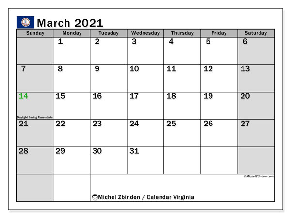 Calendar March 2021 - Virginia. Public Holidays. Monthly Calendar and free schedule to print.