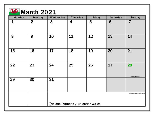 March 2021 Calendar, with the holidays of Wales. Holidays calendar to print free.