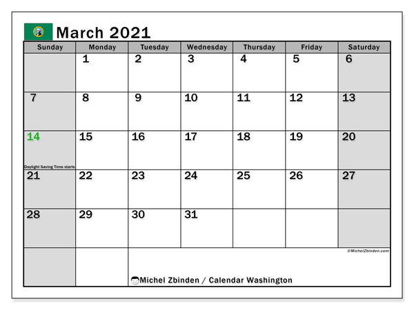 "Calendar ""Washington"" with public holidays, March 2021, ready to print."