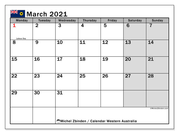 March 2021 Calendar, with the holidays of Western Australia. Holidays calendar to print free.