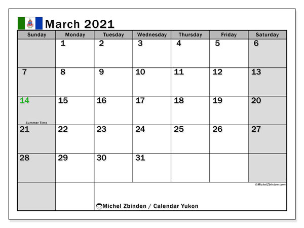 March 2021 Calendar, with the holidays of Yukon. Free printable calendar with public holidays.