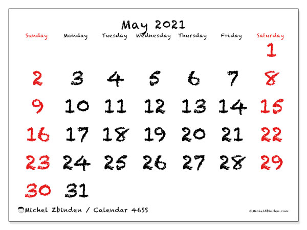 Printable calendar, May 2021, 46SS