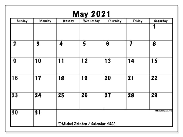 Printable calendar, May 2021, 48SS