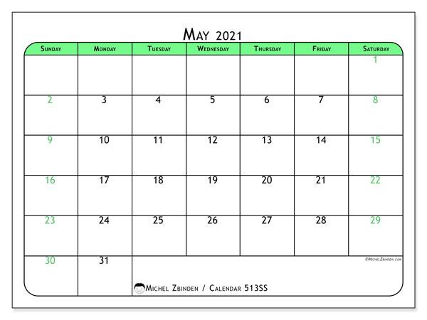 """Printable May 2021 """"513SS"""" Calendar - Michel Zbinden EN"""