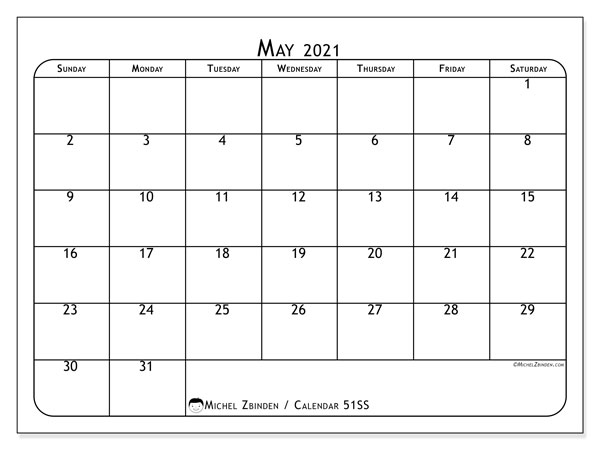 Printable calendar, May 2021, 51SS