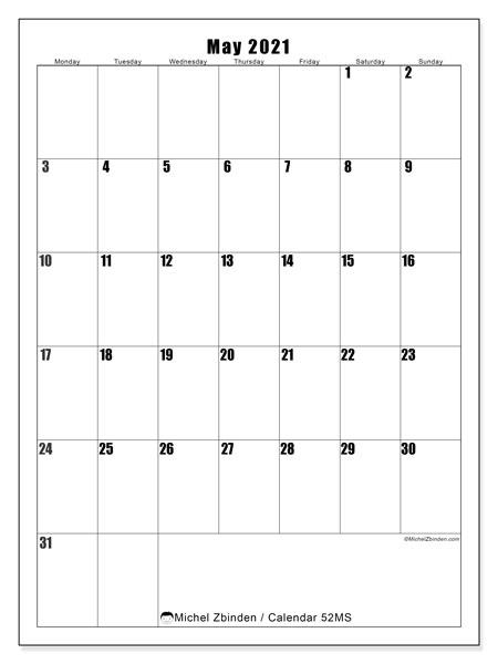 May 2021 Calendar, 52MS. Free calendar to print.