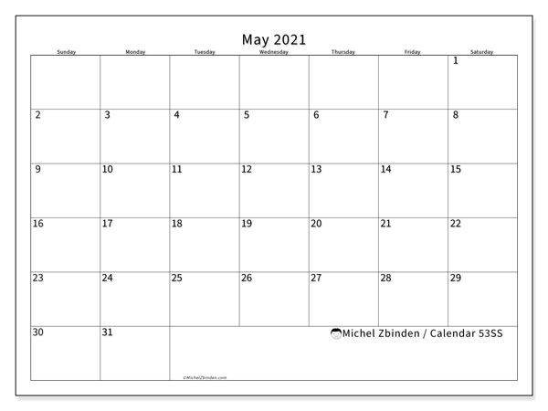 Printable calendar, May 2021, 53SS