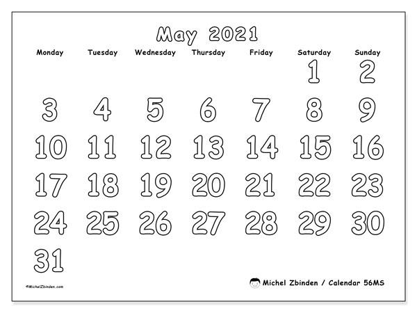 May 2021 Calendar, 56MS. Calendar to print free.