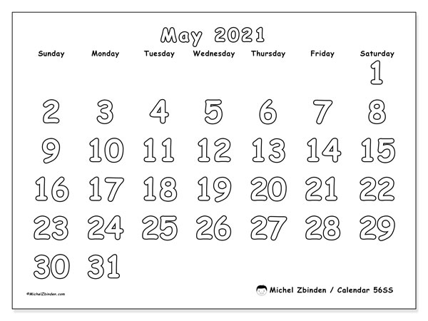 Printable calendar, May 2021, 56SS