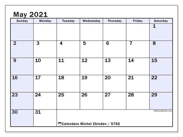 May 2021 Calendar, 57SS. Calendar for the month to print free.