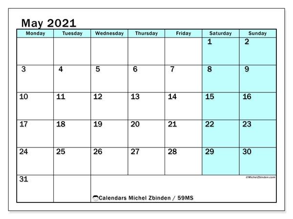 May 2021 Calendar, 59MS. Free printable planner.