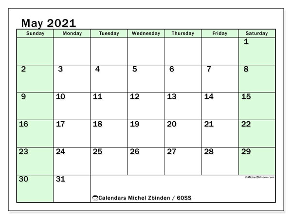 May 2021 Calendar, 60SS. Monthly planner to print free.