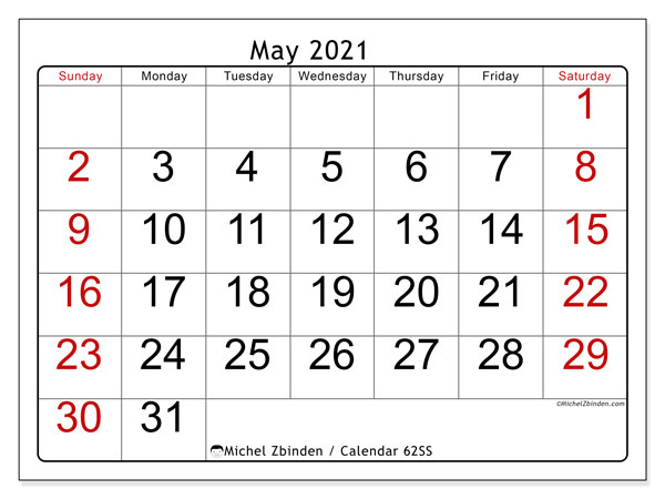 Printable calendar, May 2021, 62SS