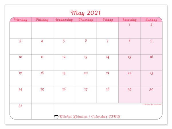 May 2021 Calendar, 63MS. Calendar to print free.
