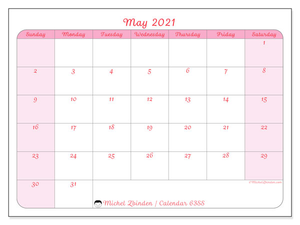 Printable calendar, May 2021, 63SS