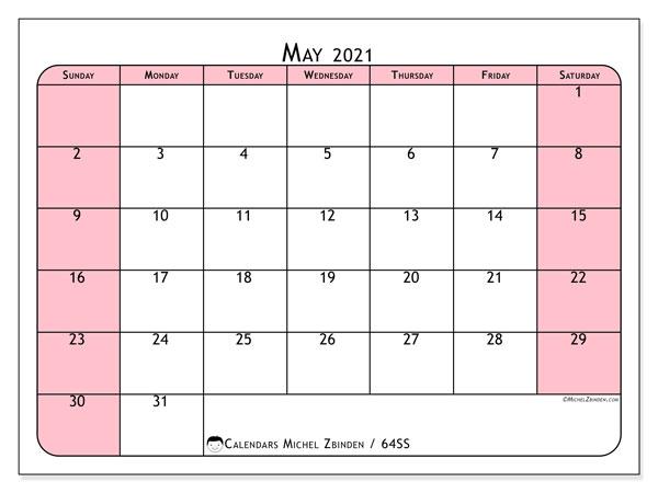 May 2021 Calendar, 64SS. Free printable monthly calendar.