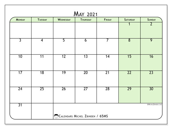May 2021 Calendar, 65MS. Free printable monthly calendar.
