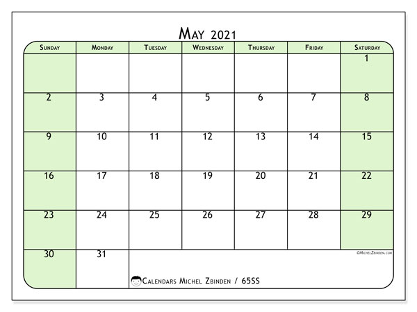 May 2021 Calendar, 65SS. Calendar for the month to print free.