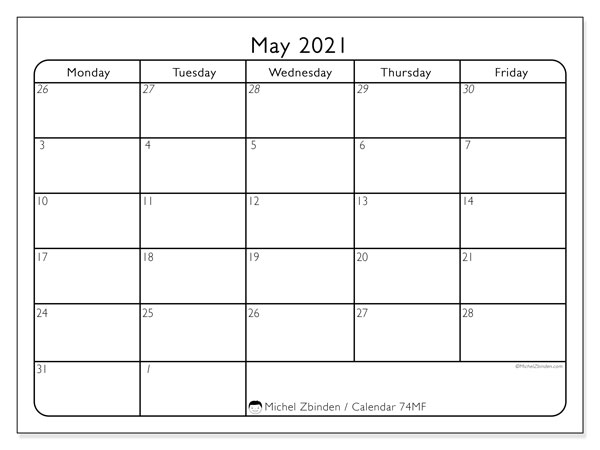 Printable calendar, May 2021, 74SS