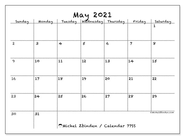 Printable calendar, May 2021, 77SS