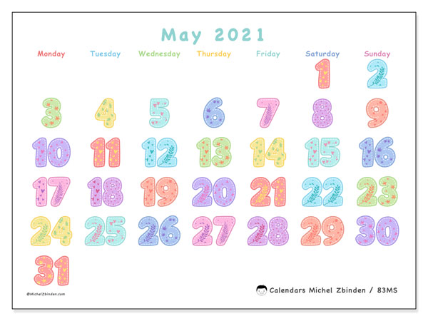 May 2021 Calendar, 83MS. Free calendar to print.