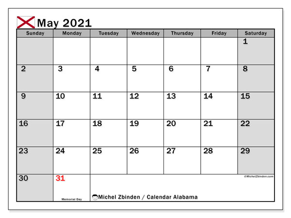 "Calendar ""Alabama"" with public holidays, May 2021, ready to print."