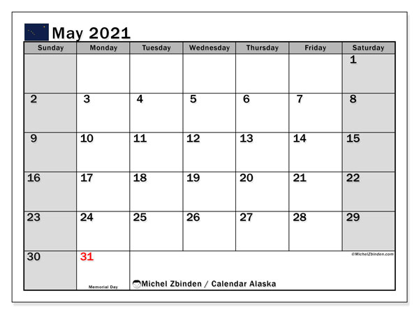 "Printable ""Alaska"" calendar with public holidays. Monthly May 2021 calendar and free timetable to print."