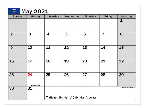 May 2021 Calendar, with the holidays of Alberta. Holidays calendar to print free.