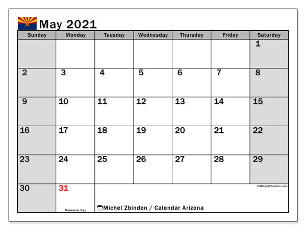 Calendar May 2021 - Arizona. Public Holidays. Monthly Calendar and schedule to print free.