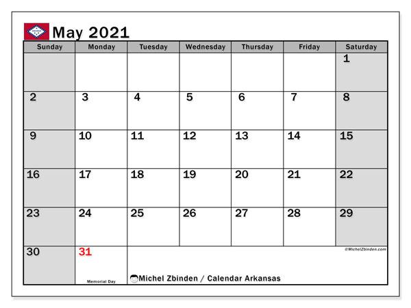 May 2021 Calendar, with the holidays of Arkansas. Holidays calendar to print free.