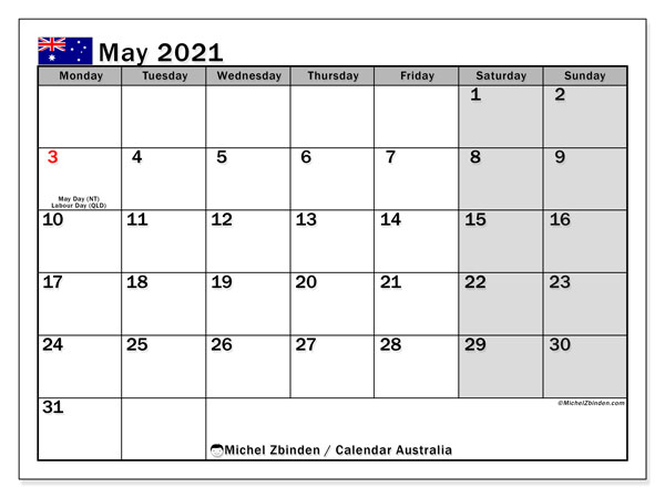 Calendar May 2021 - Australia. Public Holidays. Monthly Calendar and free bullet journal to print.