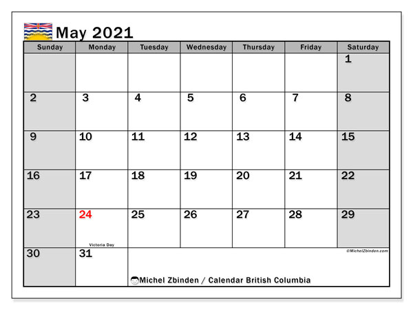 Calendar May 2021 - British Columbia. Public Holidays. Monthly Calendar and free bullet journal to print.