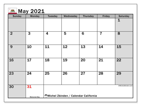 Calendar May 2021 - California. Public Holidays. Monthly Calendar and free printable timetable.