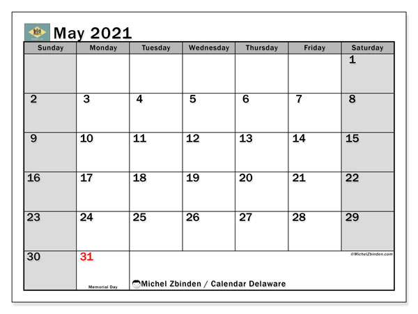 "Printable ""Delaware"" calendar with public holidays. Monthly May 2021 calendar and planner to print free."