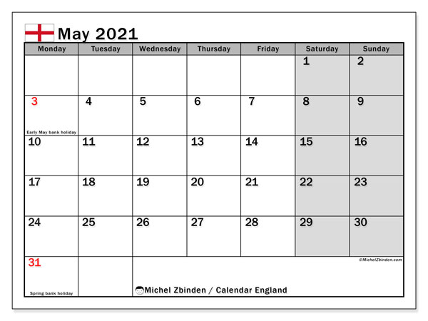 May 2021 Calendar, with the holidays of England. Free printable calendar with public holidays.