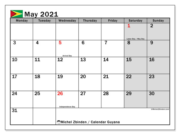 Calendar May 2021 - Guyana. Public Holidays. Monthly Calendar and free agenda to print.